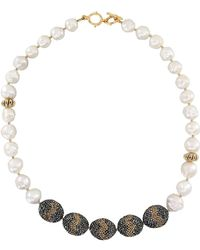 Farra - White Freshwater Pearls & Black Gold Rhinestones Necklace - Lyst