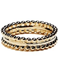 Agnes De Verneuil - Gold Ring Two Pearls Bands - Lyst