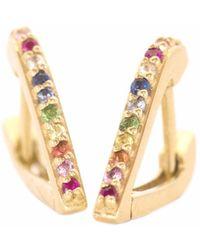 XISSJEWELLERY - Gold & Rainbow Huggy Earrings - Lyst