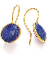 Dione London - Nova Lapis Lazuli Oval Off-set Stone Earrings - Lyst