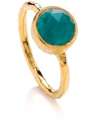 Dione London - Celest Small Emerald Circle Stacking Ring - Lyst