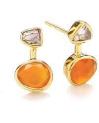 Dione London - Iris Diamond Slice & Carnelian Stud Earrings - Lyst
