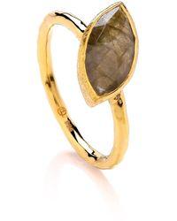 Dione London - Nova Labradorite Marquise Off Set Stone Stacking Ring - Lyst