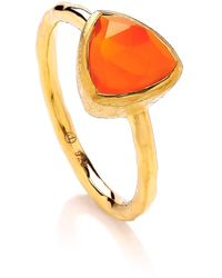 Dione London - Celest Small Carnelian Triangle Stacking Ring - Lyst