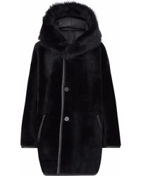 Gushlow and Cole - Black Reversible Shearling Parka Coat - Lyst