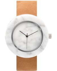 Analog Watch Co. - White Marble Circle With Tan Leather Strap - Lyst