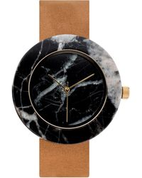 Analog Watch Co. - Black Marble Circle With Tan Leather Strap - Lyst