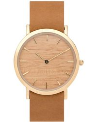 Analog Watch Co. - Silverheart Wood Classic Watch With Tan Leather Strap - Lyst