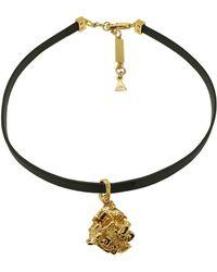 Coup de Coeur London - Gold Vortex Stone Leather Choker - Lyst