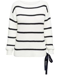 Rumour London - Monaco Striped Cotton Sweater With Metal Eyelets In Cream - Lyst