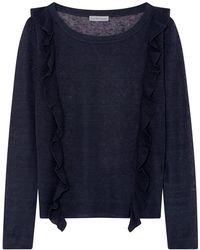 ILLE DE COCOS - Linen Ruffle Sweater Navy - Lyst