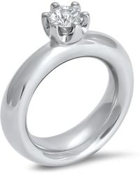 Hargreaves Stockholm - Commitment B White Gold And Diamond Claw Set Single Stone Ring - Lyst