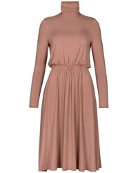 Paisie - Turtleneck Jersey Dress With Elastic Ruched Waistband In Blush - Lyst