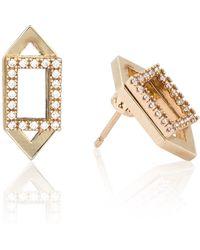Astrid & Miyu | Rectangle Ear Jacket In Gold | Lyst