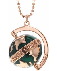 True Rocks - Small Globe Necklace Rose Gold & Green Enamel - Lyst