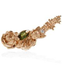Lee Renee - Rose Diamond & Tourmaline Slider Earring Single Rose Gold - Lyst
