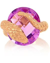 Alexandra Alberta - Rose Gold Plated Gaia Ring With Amethyst - Lyst