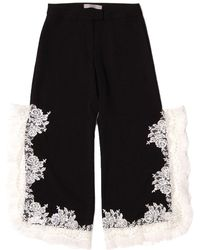 SAKU New York - Lace Trimmed Side Slit Pants Black - Lyst