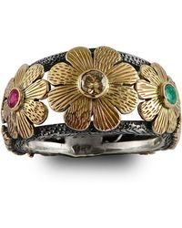 Emma Chapman Jewels - Diamond Ruby & Emerald Gold Flower Ring - Lyst
