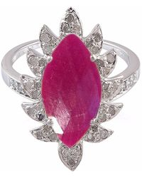 Meghna Jewels - Claw Marquise Ring Ruby & Diamonds - Lyst