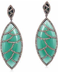Meghna Jewels - Bora Bora Earrings Green Onyx & Diamonds - Lyst