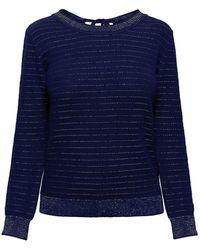 Rumour London - Lulu Tie-back Cotton & Modal Jumper With Metallic Stripe - Lyst