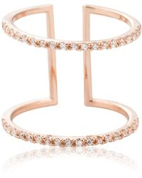 Astrid & Miyu - Double Bewitched Ring In Rose Gold - Lyst