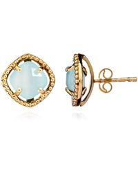 Azuni London - Delphi Simple Stone Stud Earrings In Gold & Aqua - Lyst