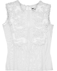 VEIL LONDON - White Hand-beaded Top - Lyst