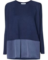 Paisie - Navy Knitted Top With Silk Panel - Lyst