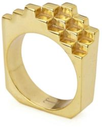 Jewel Tree London 18kt Yellow Gold Vermeil Hive Ring - Metallic