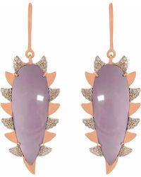 Meghna Jewels - Claw Drop Earrings Rose Quartz Alt - Lyst