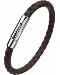 N'damus London - Mens Brown Leather Plaited Bracelet With Silver Clasp - Lyst