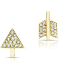 Anne Sisteron - Yellow Gold Diamond Split Arrow Stud Earrings - Lyst