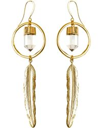 Tiana Jewel - Feather Canyon Clear Quartz Hoop Earrings - Lyst