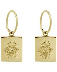MONARC JEWELLERY - Evil Eye Plinth Hoops Gold Vermeil - Lyst