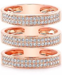 Anne Sisteron - Rose Gold Diamond Large Triple Bar Ring - Lyst