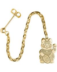CarterGore - Gold Lucky Cat Single Long Drop Earring - Lyst