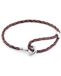 Anchor & Crew - Deep Purple Blake Silver & Braided Leather Bracelet - Lyst