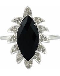 Meghna Jewels - Claw Marquise Black Onyx & Diamonds Ring - Lyst