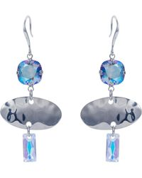 Nadia Minkoff - Oval Textured Earring Blue Shimmer - Lyst