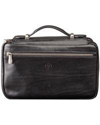 Maxwell Scott Bags - Luxury Italian Leather Women's Zip Around Toiletry Bag Cascina Black - Lyst
