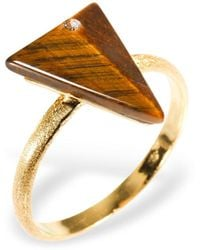 Ona Chan Jewelry - Triangle Ring With Tiger's Eye & Swarovski - Lyst