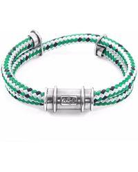 Anchor & Crew - Green Dash Larne Silver & Rope Bracelet - Lyst