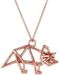 Origami Jewellery - Frame Triceratop Necklace Rose Gold - Lyst