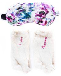 StephieAnn - Awesome Bed Socks & Eye Mask Gift Set Cream - Lyst
