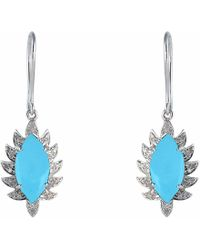 Meghna Jewels - Claw Single Drop Marquise Earrings Turquoise & Diamonds - Lyst