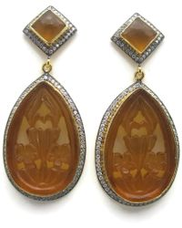 Meghna Jewels - Carved Golden Earrings - Lyst