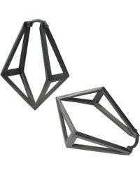 Stephanie Bates | Oxidised Silver Kite Hoop Earrings | Lyst