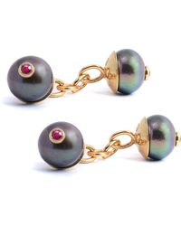 Lee Renee - Peacock Pearl & Ruby Cufflinks - Lyst